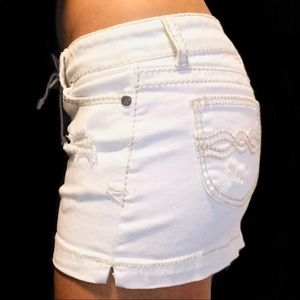 Hot Kiss Skirts - Hot Kiss White LACE-UP Skylar Denim Skirt- 7